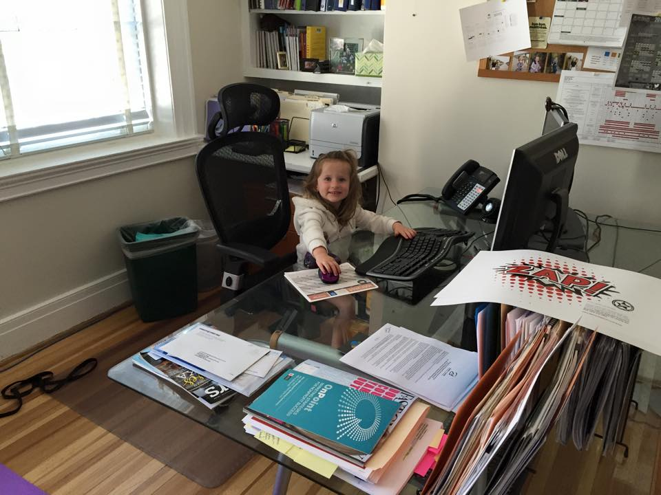 Anna at my desk