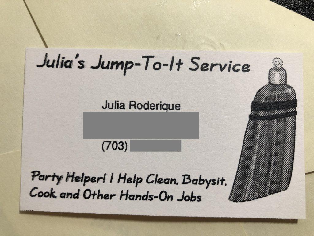 Julia's first business card